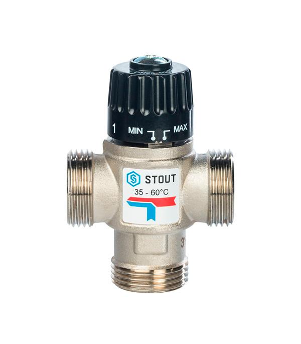 Клапан термостатический 1 НР Stout подмешивающий для систем отопления и ГВС 35-60°С, KV 2,5 м3/ч esbe вентиль т с для гвс esbe vta322 35 60c нар 1 kvs 1 6