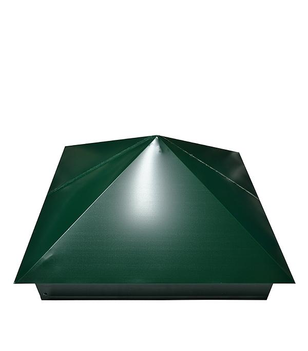 Купить Колпак на столб 400х400 мм зеленый RAL 6005, Зеленый, Сталь