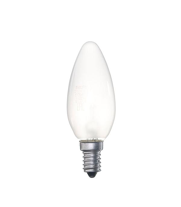 Лампа накаливания Philips E14 60W В35 свеча FR матовая лампа накаливания philips e14 60w р45 шар fr матовая