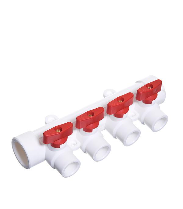 Коллектор полипропиленовый Tebo 32х4 отвода 20х32 мм с шаровыми кранами красные ручки