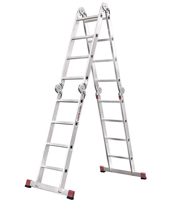 Фото - Лестница трансформер Новая высота четырехсекционная алюминиевая 4х4 профессиональная лестница трансформер шарнирная профи 4 секции по 4 ступени 1 алюмет