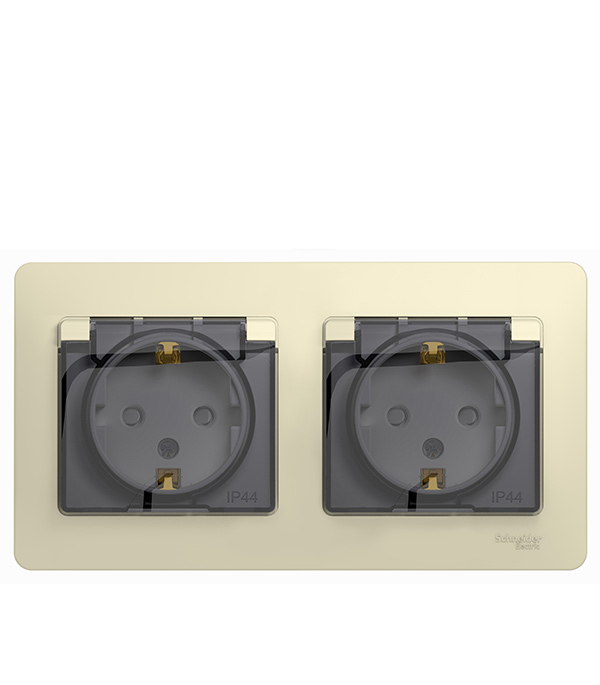 Розетка двойная Schneider Electric Glossa с/у с заземлением со шторками в сборе IP44 бежевый розетка abb bjb basic 55 шато 2 разъема с заземлением моноблок цвет чёрный