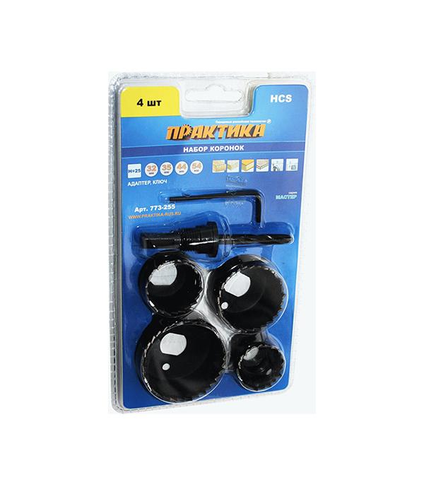 Коронки по дереву Практика 32-54 мм + адаптер набор (4 шт) цена