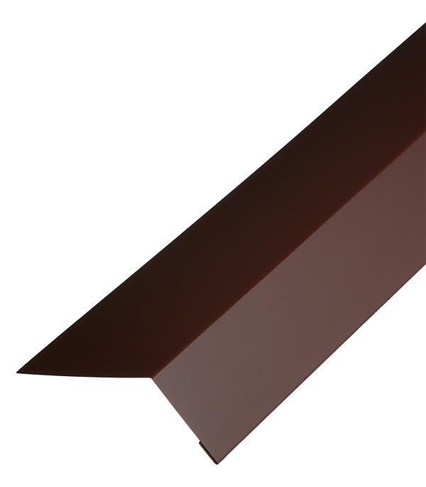 Планка карнизная для гибкой черепицы 100х60 мм 2 м коричневая RAL 8017 торцевая планка для гибкой черепицы 100х65 мм 2 м красная ral 3009