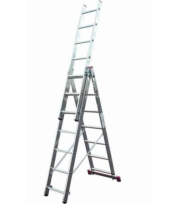 Фото - Лестница трансформер Krause Corda трехсекционная алюминиевая 3х7 универсальная лестница сибртех 3 х 7 ступеней алюминиевая трехсекционная