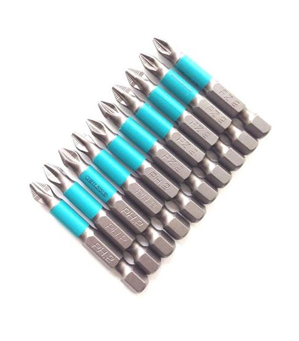 Бита магнитная Jettools Профи PH2 PZ2 50 мм набор (10 шт) бита jettools магнитная ph1 50 мм 2 шт