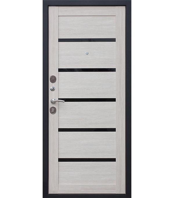 Дверь входная Garda левая черный муар - лиственница мокко со стеклом 960х2050 мм