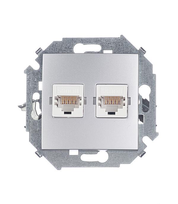 Розетка компьютерная двойная RJ45 кат.5е алюминий Simon 15 розетка itk для rj45 utp кат 5е 1 выход белый cs2 1c5eu 12