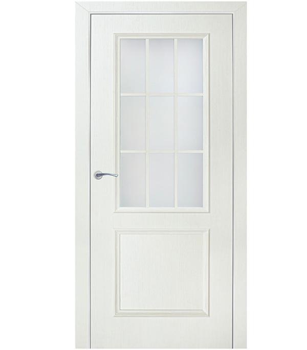 Дверное полотно ламинированное Altro декоративный бьянко 3D 2000х800 мм со стеклом без притвора сотовый