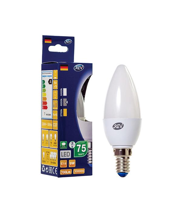 все цены на Лампа светодиодная REV Е14 9Вт 4000K дневной свет C37 свеча онлайн