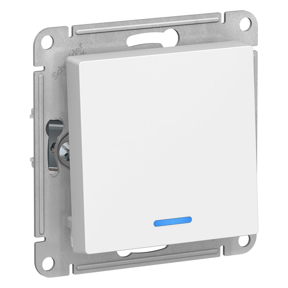 Выключатель Schneider Electric Atlas Design ATN000113 одноклавишный скрытая установка белый с подсветкой выключатель wessen 59 vs116 153 18 белый 1 клавишный с подсветкой 16а сх 1 в сборе с рамкой