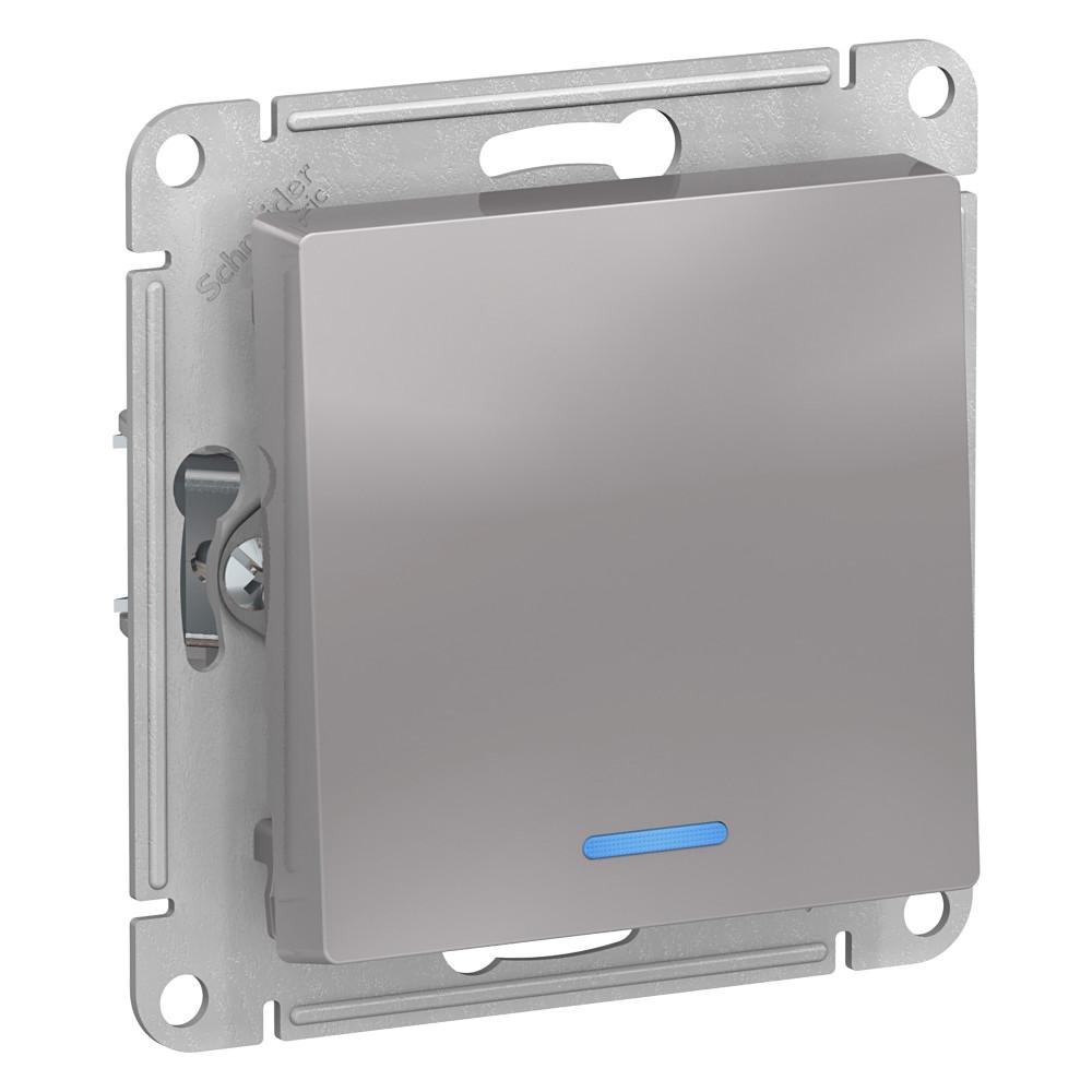 Выключатель без рамки Schneider Electric Atlas Design ATN000313 одноклавишный скрытая установка алюминий с подсветкой фото