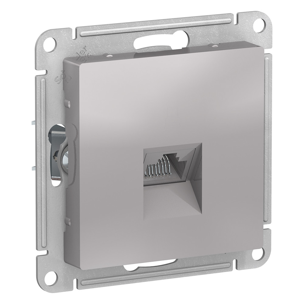 Розетка компьютерная без рамки Schneider Electric Atlas Design ATN000383 скрытая установка алюминий один модуль RJ45 фото