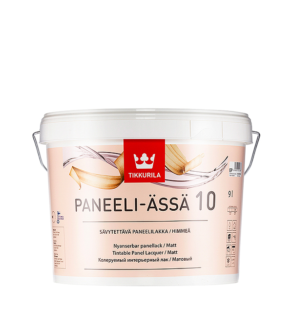 Лак водоразбавляемый Tikkurila Paneeli-Assa основа EP матовый 9 л защитный состав д внутр работ paneeli assa ep 9л