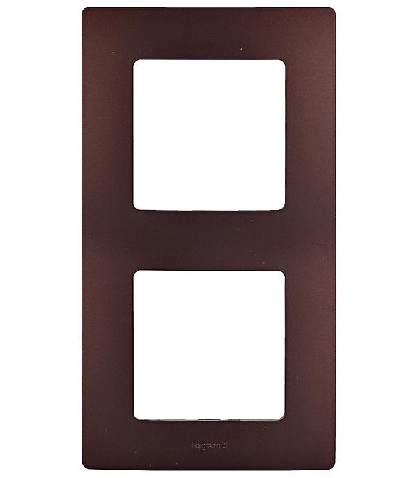 Рамка двухместная универсальная Legrand Etika какао мультиварка polaris pmc0516adg коричневый какао pmc0516adg коричневый какао