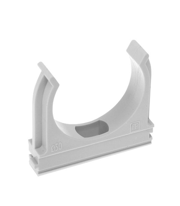 Крепеж-клипса для труб 25 мм  тёмно-серая (10 шт) цены