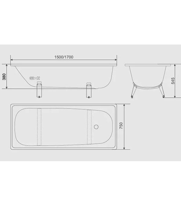 Ванна стальная WHITE WAVE Сlassic 150х75 см с ножками толщина 17 мм.