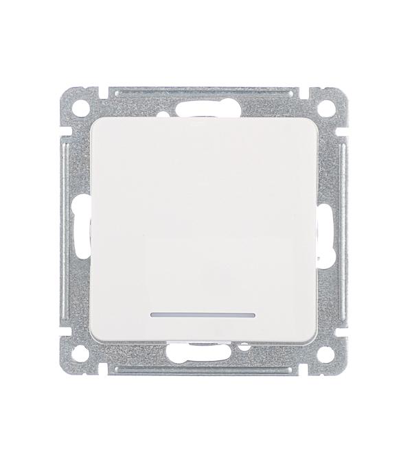 Выключатель HEGEL Master ВС10-412 одноклавишный скрытая установка белый с подсветкой