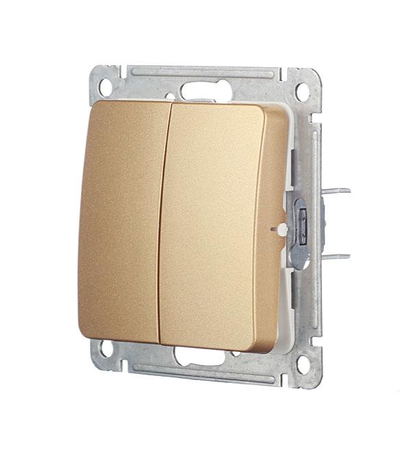 Выключатель HEGEL Master ВС10-451-07 двухклавишный скрытая установка золото фото