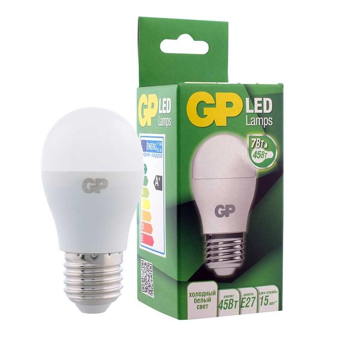 Лампа светодиодная GP 7 Вт E27 шар G45 4000 К дневной свет 220-240 В матовая
