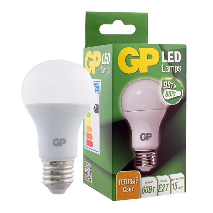 Лампа светодиодная GP 9 Вт E27 груша A60 2700 К теплый свет 220-240 В матовая