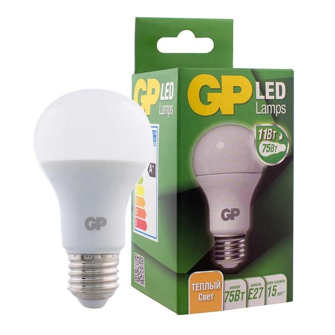 Лампа светодиодная GP 11 Вт E27 груша A60 2700 К теплый свет 220-240 В матовая
