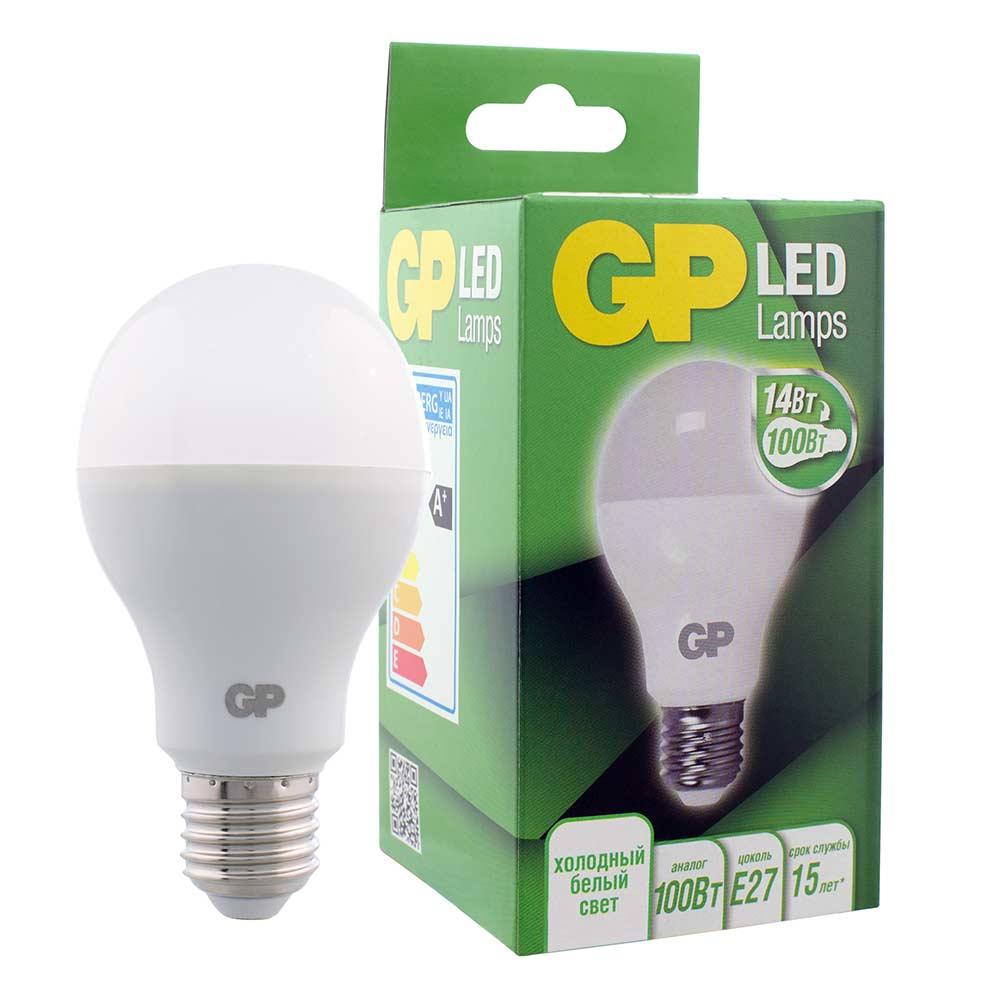 Лампа светодиодная GP 14 Вт E27 груша A60 4000 К дневной свет 220-240 В матовая фото