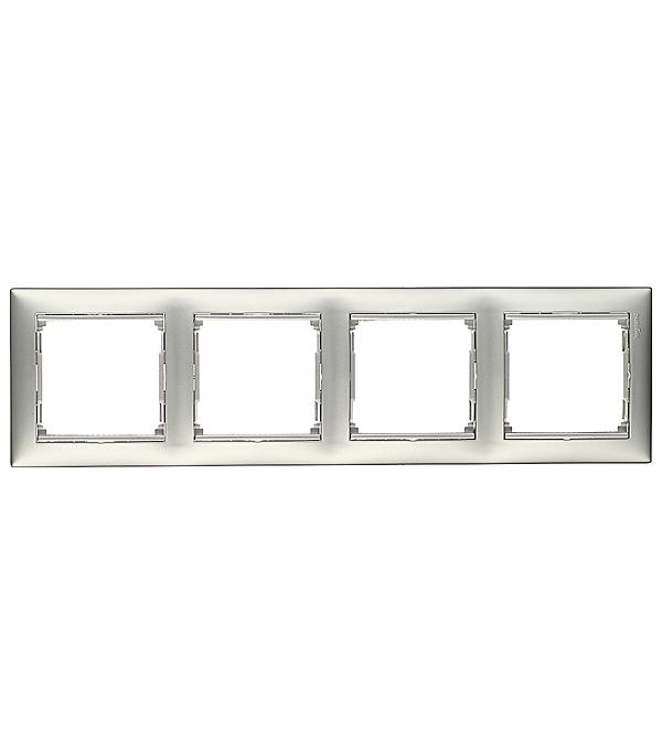 Рамка четырехместная горизонтальная Legrand Valena алюминий legrand рамка valena белая четырехместная