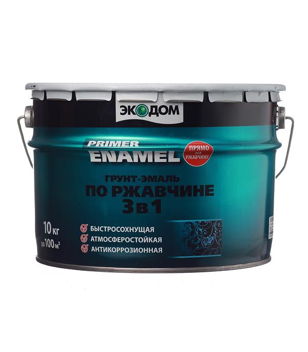 Грунт-эмаль по ржавчине 3 в 1 Экодом красно-коричневая 10 кг