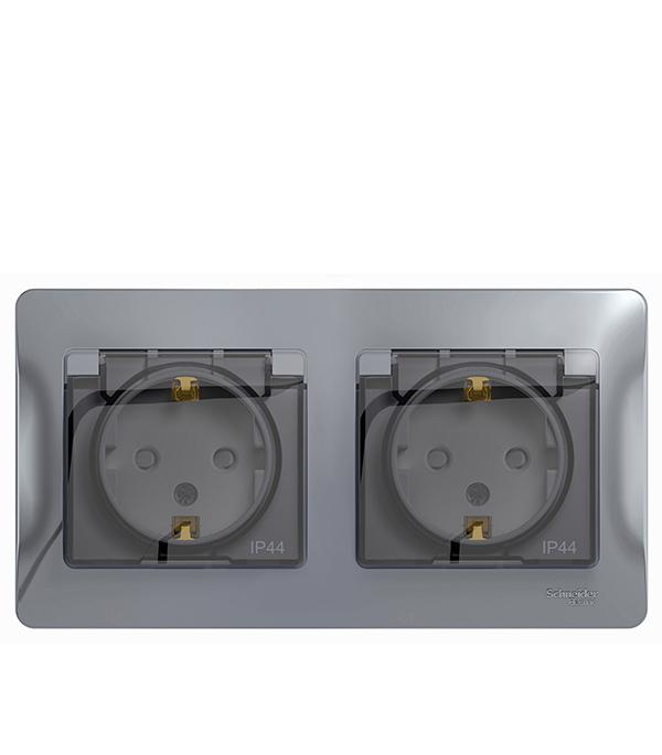 Розетка двойная Schneider Electric Glossa с/у с заземлением со шторками в сборе IP44 алюминий розетка abb bjb basic 55 шато 2 разъема с заземлением моноблок цвет чёрный