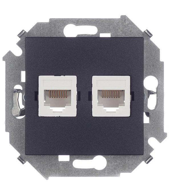 Розетка компьютерная двойная RJ45 кат.5е графит Simon 15 розетка itk для rj45 utp кат 5е 1 выход белый cs2 1c5eu 12