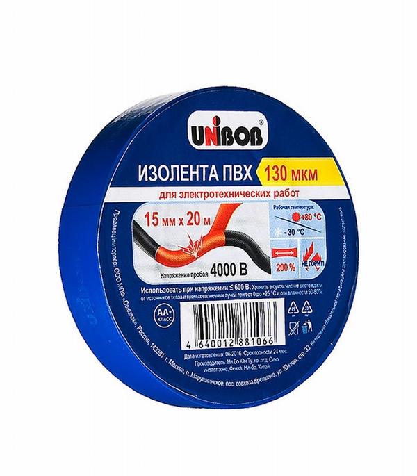 Изолента Unibob ПВХ синяя 15 мм 20 м