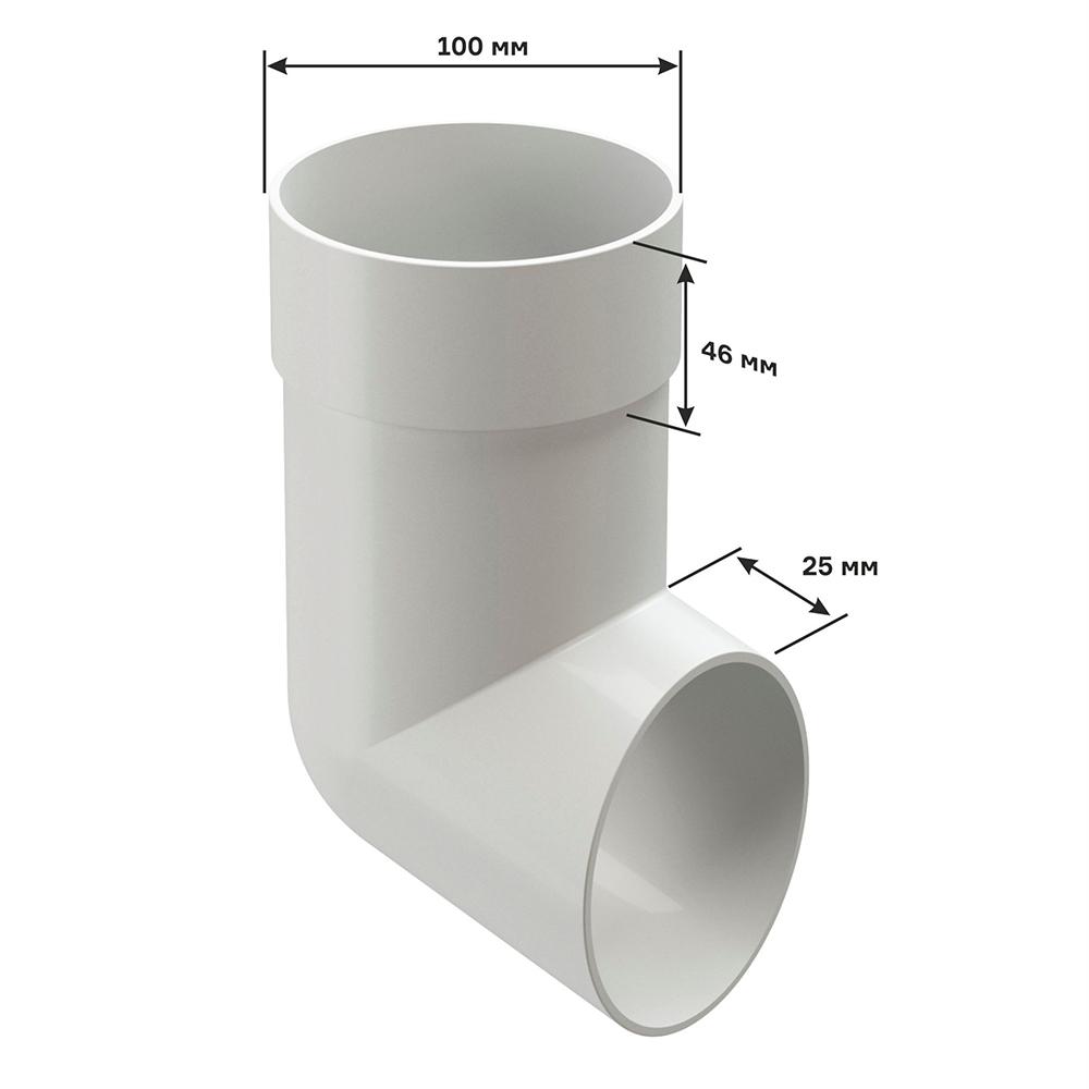 Колено стока пластиковый слив трубы Docke Premium d85 мм пломбир RAL 9003