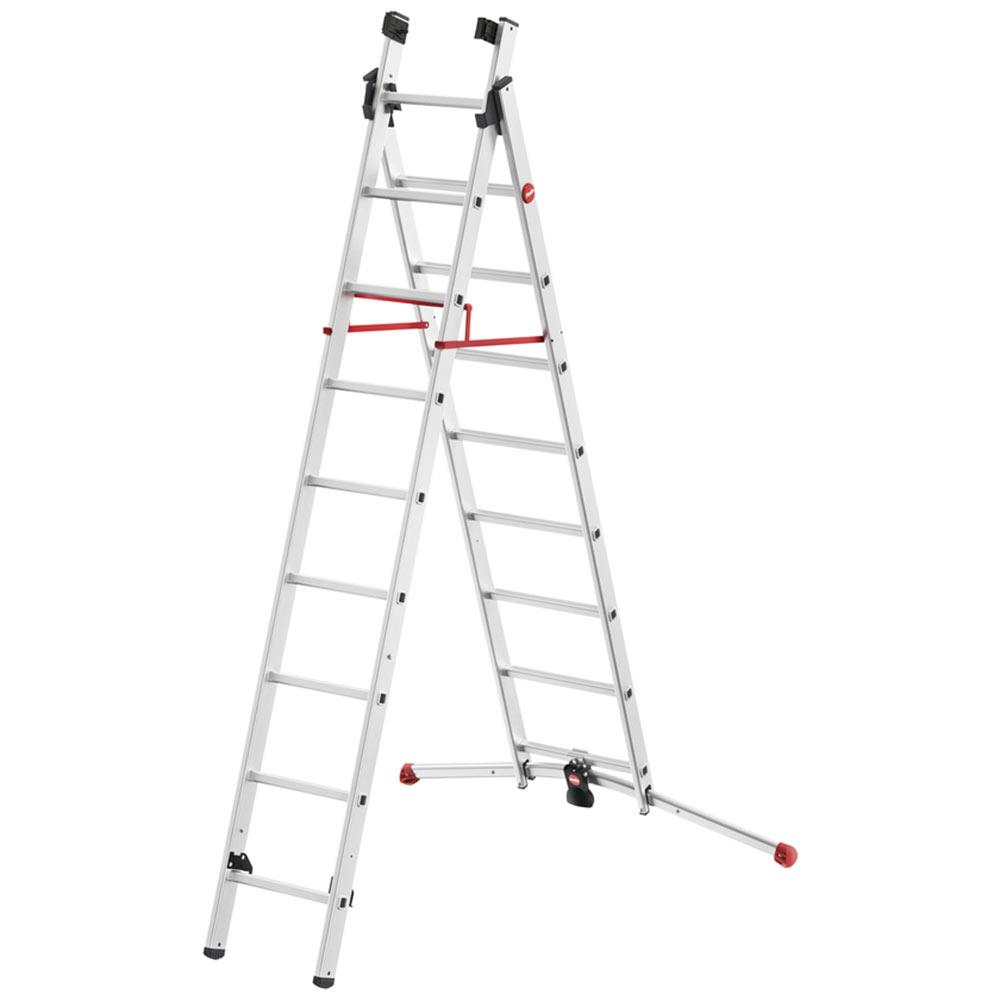 Лестница трансформер Hailo S100 ProfiLOT двухсекционная алюминиевая 2x9 профессиональная