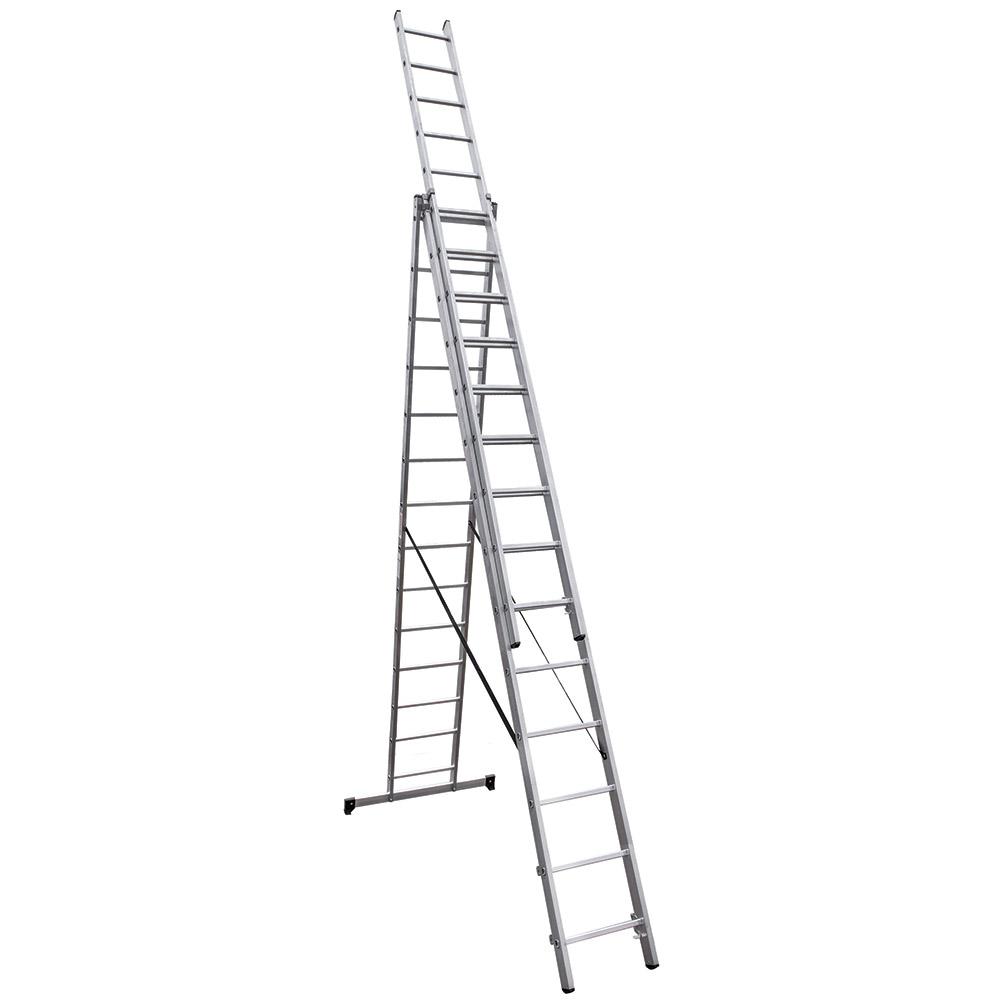 Лестница трансформер Новая высота трехсекционная алюминиевая 3х14 RAL 9006