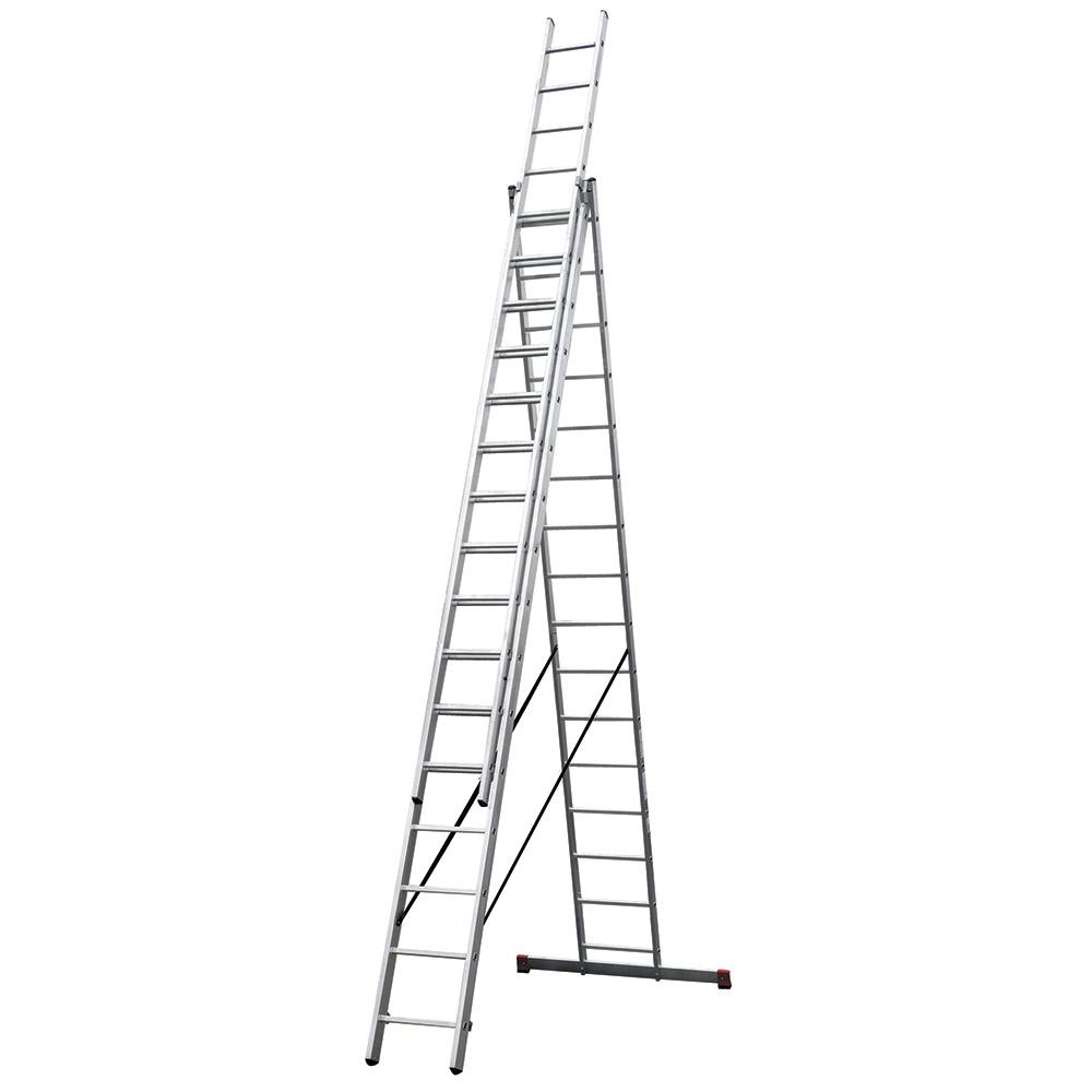 Лестница трансформер Новая высота трехсекционная алюминиевая 3х16 RAL 9006