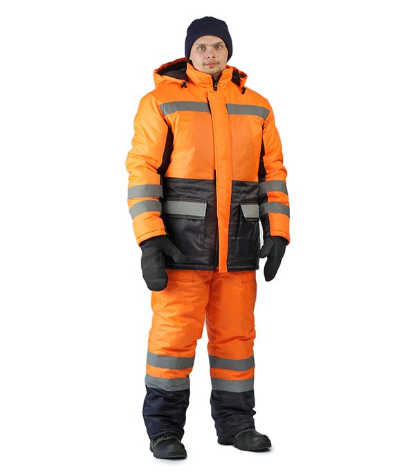 Костюм рабочий утепленный Зимник 56-58 рост 170-176 см цвет оранжевый/черный