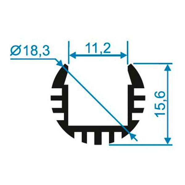 Профиль для светодиодной ленты Apeyron P8-18 2 м круглый анодированный алюминий комплект фото