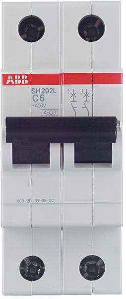 Автомат ABB SH202L (2CDS242001R0064) 2P 6 А тип C 4,5 кА 400 В на DIN-рейку фото