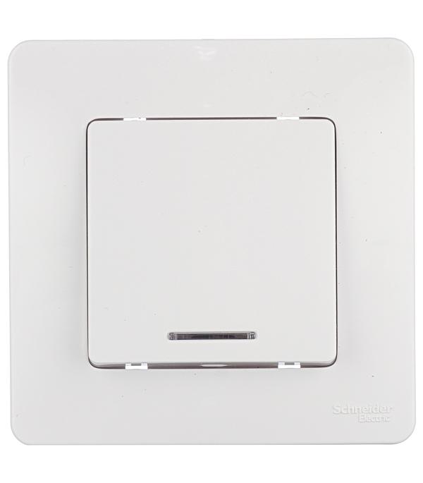 Купить Выключатель oдноклавишный с подсветкой с/у Schneider Electric Blanca белый