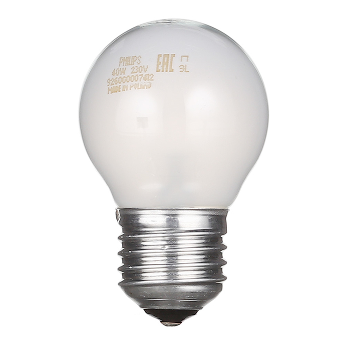 Лампа накаливания Philips 40 Вт E27 шар G45 220 В матовая