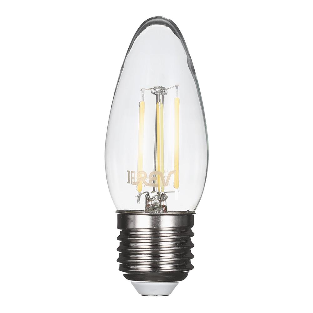 Лампа светодиодная REV 7 Вт E27 филаментная свеча С37 4000 К дневной свет 230 В прозрачная