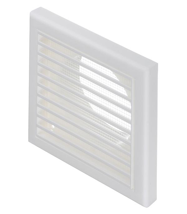 цена на Решетка вентиляционная пластиковая приточно-вытяжная Вентс 154х154 мм с сеткой c фланцем d100 мм белая
