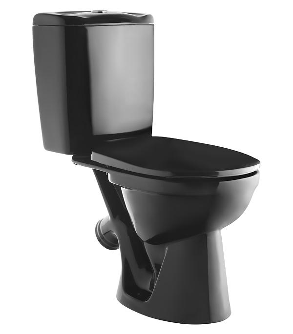 Унитаз-компакт KERAMIN Омега с косым выпуском с сиденьем дюропласт черный керамин гранд арматура alcaplast однорежимный