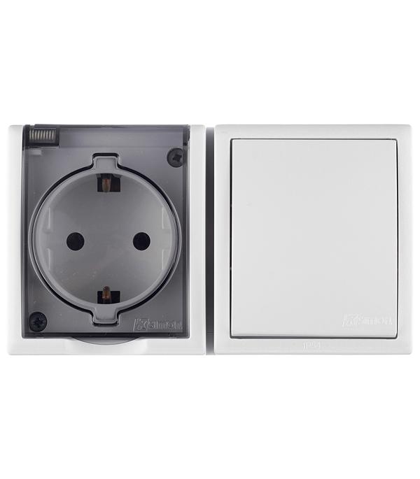 Блок: розетка с заземлением Schuko 16А 250В+выключатель одноклавишный 10А 250В IP54 белый цена и фото