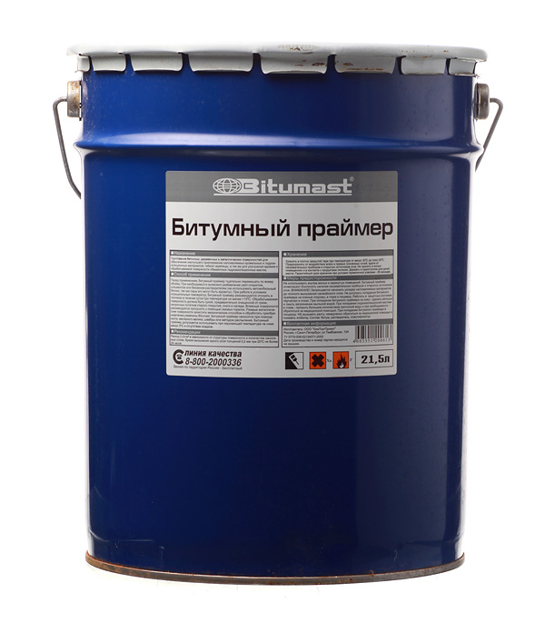 Праймер битумный Bitumast 18 кг/21.5 л мастика для гибкой черепицы фиксер технониколь 23 3 6 кг 3 л
