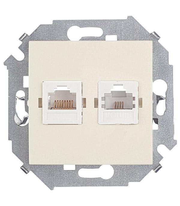 Механизм розетки телефонная + компьютерная RJ11+RJ45 кат.5е, Simon 15, слоновая кость механизм компьютерной розетки simon 15 rj45 категория 5е слоновая кость