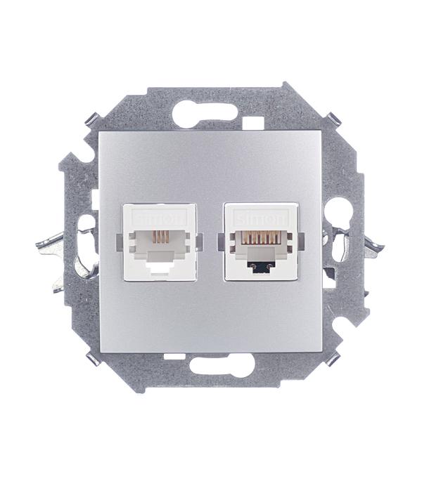 Розетка телефонная + компьютерная RJ11+RJ45 кат.5е алюминий Simon 15 розетка для витой пары rj45 8p8c кат 5
