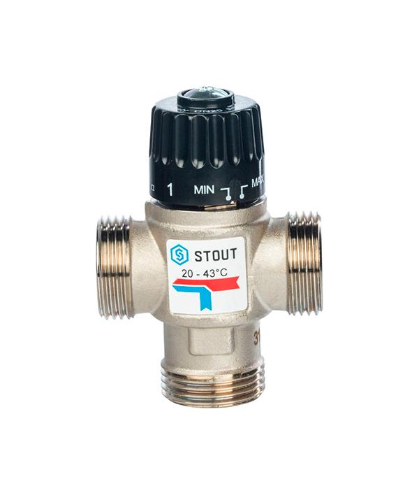 """Клапан термостатический 1"""" НР Stout подмешивающий для систем отопления и ГВС 20-43°С, KV 1,6 м3/ч все цены"""