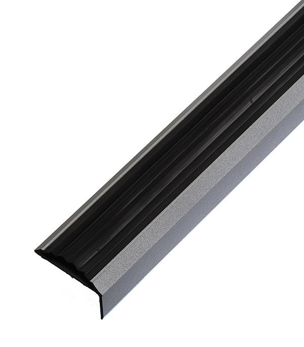цена на Порог для кромок ступеней 37,5х23х1800 мм с резиновой вставкой Серебро